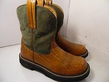 Ariat 14711 Ankle Boots Brown Green Western Cowboys Womens Sz 6.5 B