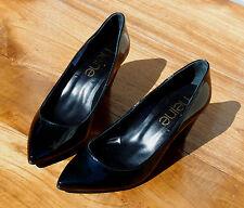 HEINE Damen Lack PUMPS High Heels 7 cm Absatz Schwarz PU Lackleder Schuhe Gr. 38