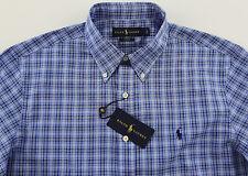 Men's RALPH LAUREN Tonal Blue Oxford Plaid Shirt XL XLarge NWT NEW SLIM FIT