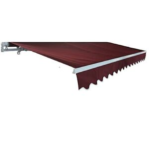 ALEKO Motorized Retractable Patio Awning 20 X 10 Ft Burgundy Color