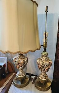 Antique PAIR Capodimonte Cherub Lamp ORIGINAL French Provincial  SHADES OPTIONAL