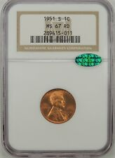 1951-S 1C Lincoln Wheat Cent (GEM RED) NGC MS67 RD #289415-011 CAC CERTIFIED!!!