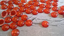 50 X RED GLITTER GEMS - 8MM -  ROUND - FLATBACK EMBELLISHMENTS