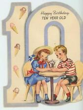 VINTAGE BOY GIRL ICE CREAM CONES SODA SHOP TEN YEARS OLD BIRTHDAY CARD ART PRINT