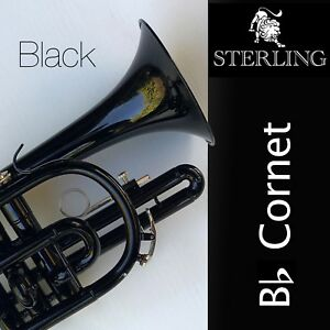 BLACK Sterling Bb CORNET  • With Case and Accessories • BRAND NEW •