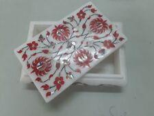 Indian Marble Handicrafts Carnelian Red Orange Marble Jewellery Box Arts Gifts