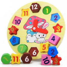 Wooden Toy Kids Digital Geometry Clock Building Blocks Early Educational Toy NEW