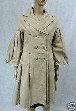 **MISS ANNE** Beige Bell Pleated Coat 10 12 M 100% Cotton Double Breasted Jacket