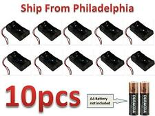 "Lot 10 Pcs New 2AA 2A Battery 3V Clip Holder Box Case with 6"" Leads Black"