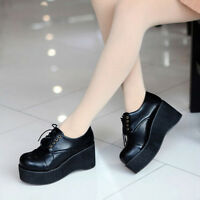 2016 Womens Wedge Mid Heel Trend Goth Pumps Creeper Platform Lace Up Punk Shoes