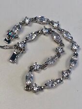 Tennis Bracelet Silver Plated Cubic Zirconia  Round Marquis Stones 7 1/2 Inch