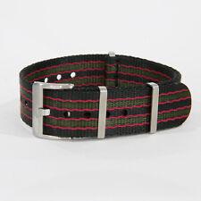 Premium Seatbelt NATO Watch Strap 20/22mm Vintage Bond Stripes