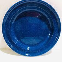 "Blue Enamelware Dinner Plate Deep Dish 10.5"""
