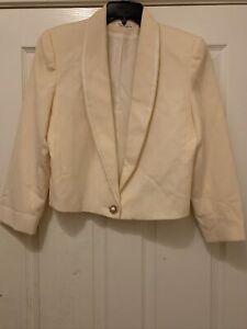 Vintage Talbots Cream Color Blazer One Button Size 10 Pure Wool