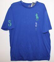 Polo Ralph Lauren Big & Tall Mens Royal Blue Green Big Pony Polo T-Shirt NWT LT