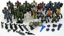 Mega Bloks HALO Minifigures Lot Of 26 Figures 17 Weapons Spartans Elites Grunts