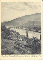 """Ansichtskarte Heidelberg """"Old Neckar Bridge"""" Gruen & Bilfinger AG - schwarz/weiß"""