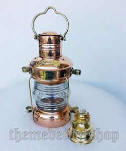 "Ship's Anchor Lantern Oil Lamp Copper & Brass 13.5"" Fresnel Lens Nautical Decor"