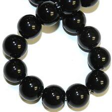 "GR151 Black Obsidian 12mm Round Gemstone Beads 15"""
