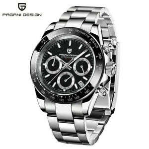 PAGANI DESIGN Chronograph Waterproof Men's Japan Quartz Wrist Watch Steel Band