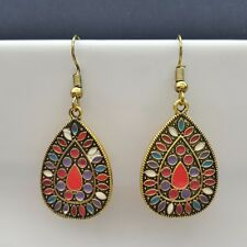 Boho Vintage Drop Dangle Earrings Womens Fashion Jewellery Red Multi-Coloured