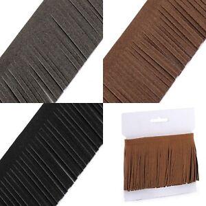 Faux Leather Suede Tassel Fringe 50 80mm x 1M 4 Colours Trim DIY Bag Clothing UK