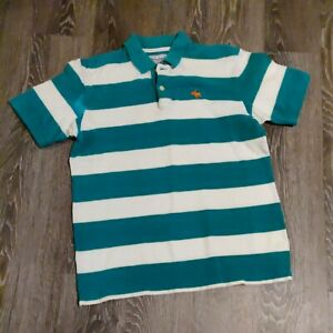 Abercrombie boys polo shirt size XL green & white striped short sleeve collared