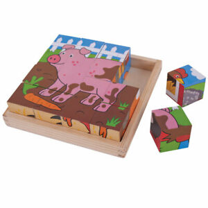 Bigjigs Toys Wooden Chunky Farm Cube Jigsaw Puzzle Early Learning Play