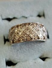 Silver Cz Ring sz 7 Hsn Signed Sw 925 Sterling