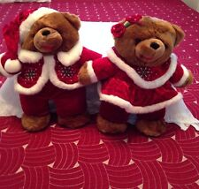 MAMA AND PAPA CHRISTMAS BEARS BY DAN-DEE BEAUTIFULLY MADE RED VELVET OUTFITS