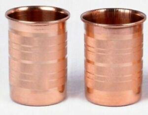 SET OF 2 Copper Drinking Glass Cup Tumbler Mug 300 ml Ayurveda yoga fs