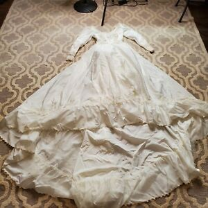 Old Vintage Ivory Satin Long Sleeve Wedding Gown Discolored HALLOWEEN