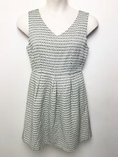 HI THERE KAREN WALKER black white weave sleeveless fitted waist tea dress sz 14