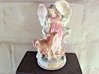 "Fitz & Floyd Classics Glazed Ceramic Angel With Deer Hand Bell 1999 5 1/2"" Tall"