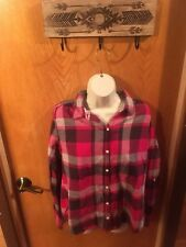 Isabella Sinclair Plaid Button Front Top Red Gray Cute Casual Women's M (A12)