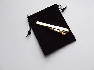 Gold Tie Clip - Black Velvet Gift Pouch - UK Seller