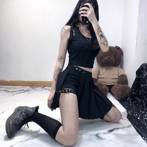 Women Punk Gothic Pleated Skirts Sexy Leg Rings Steampunk Mini Skirts Dress