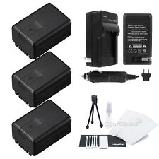 3x VW-VBK180 Battery + Charger for Panasonic HDC-TM55 TM60 SDR-H100 T70