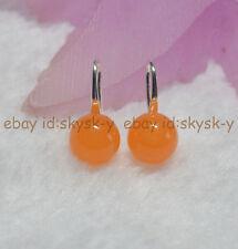 10mm Natural Orange Topaz Round Gemstone Beads Silver Hook Dangle Earrings AA