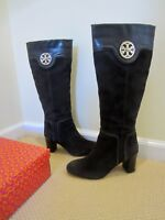 TORY BURCH SELMA HEEL SUEDE CALF LEATHER BROWN TALL BOOTS SIZE 8.5 IN BOX
