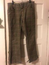 Vintage Plaid Pants Cream Brown Black Blue 34� Waist Mw Brand