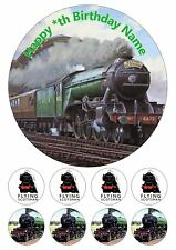 """Flying Scotsman Steam Train Personalised Iced Cake Topper 7.5"""" + 8 Cupcake Tops"""
