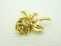 VTG Gold Tone Heavy Clear Rhinestone Rose Flower Brooch Pin