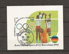 MADAGASCAR 1992 JEUX OLYMPIQUES JO ETE ESPAGNE VOLLEY BALL BLOC FEUILLET OBLI
