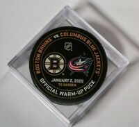 Boston Bruins Columbus Blue Jackets Warm Up Puck NHL Hockey January 2 2020