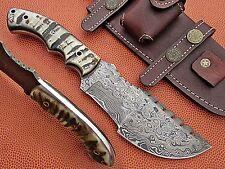 Custom Hand Made Damascus Steel Tracker Knife With Sheep Horn Handle.