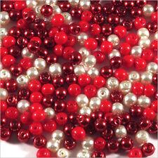 Lot de perles nacrées 4mm Mix Rouge Verre de Bohème 100g environ 1200 pcs