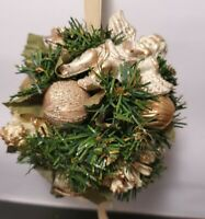 Vintage Christmas Mistletoe Kissing Ball Velvet Gold & Cream Angel Satin Balls