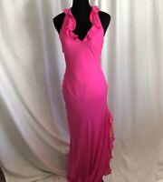 Black Label Ralph Lauren 100% Silk  Hot Pink Orange Ruffled Slip Gown Maxi Dress