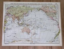 1937 ORIGINAL VINTAGE MAP OF PACIFIC AND INDIAN OCEAN OCEANIA AUSTRALIA AMERICA